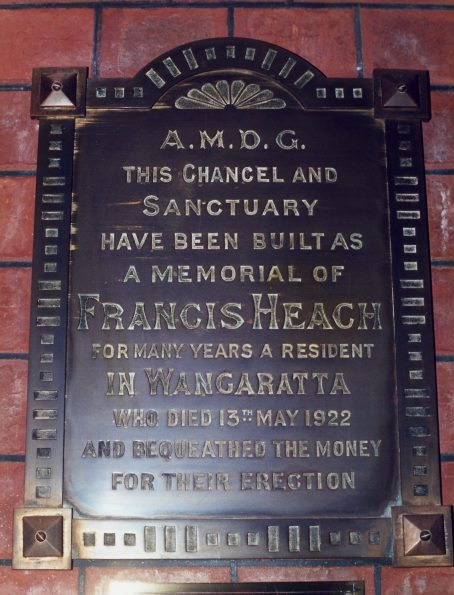 Heach plaque @ Holy Trinity Wangaratta 2