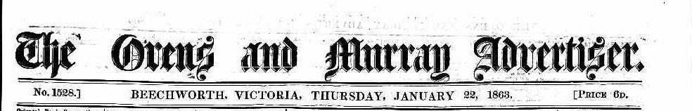 Ovens & Murray Advertiser Jan 1863