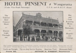 Pinsent Hotel advertising card