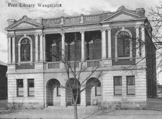 Wangaratta free library - postcard from private collection